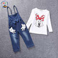 Autumn Fashion Girls Clothing Set Kids Minnie Mouse Suspender Set Baby Girls Denim Outfits Retail Kids Overall Clothes 80743