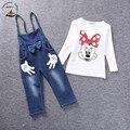 Moda outono Meninas Vestuário Set Crianças Minnie Mouse Conjunto de Bebê Meninas Denim Suspender Roupas Crianças de Varejo de Roupas Em Geral 80743