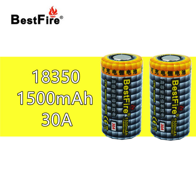 2pcs Bestfire 1500mAh 18350 3.7V Li ion Rechargeable Battery 30A for Electronic Cigarette Vape Mech Mod E Pipe B012 Tools B025