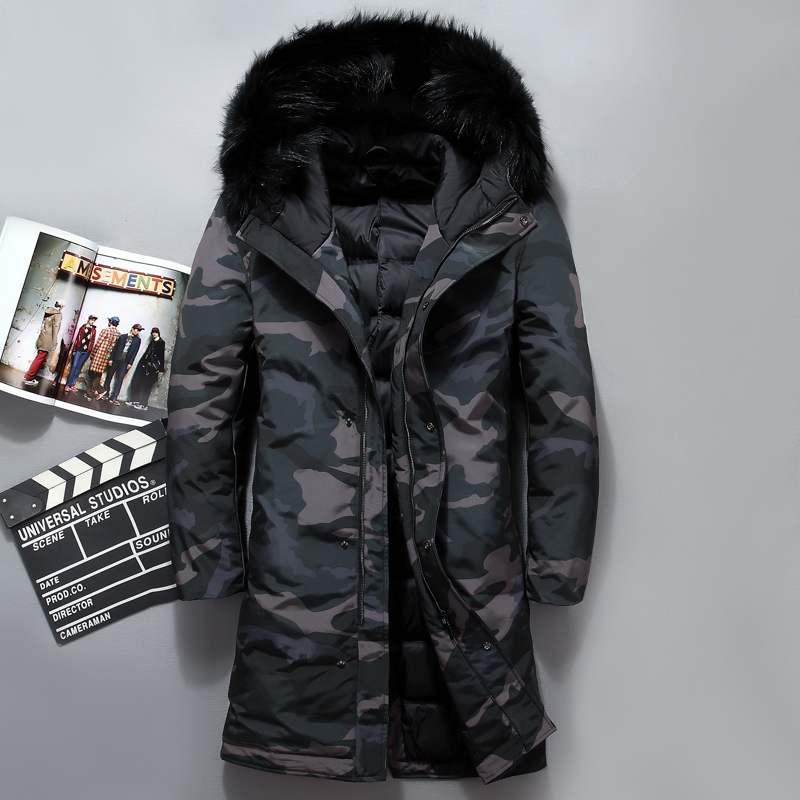 Camouflage hommes long down veste top qualité col de fourrure très épais blanc duvet de canard veste hommes D'hiver hommes vestes blousons