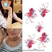 Flash Fake Tattoo Women Sexy Arm Waist Women Water Transfer Tattoo Waterproof Temporary Tattoo Sticker Golden Fish Taty