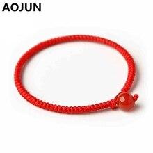 Chinese style Braided Lucky Red String Bracelet Charm Onyx Stone Handmade Weaving Bracelet Men Women Couple Lovers Bracelets J75(China (Mainland))
