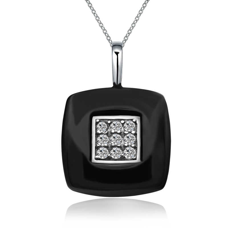 Fashion Jewelry Simple Black Ceramic Cubic Zircon Square Pendant Necklaces With Women's 925 Sterling Silver Necklace & Pendant