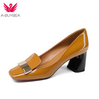A BUYBEA fashion cow leather shallow square heel big size women pumps slip on elegant wedding office lady party metal sexy shoes