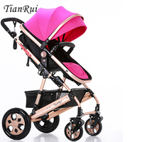 2016 New design foldable aluminum Luxury baby stroller 3 in 1 , stroller carry bag, 5 colour four wheels single seat