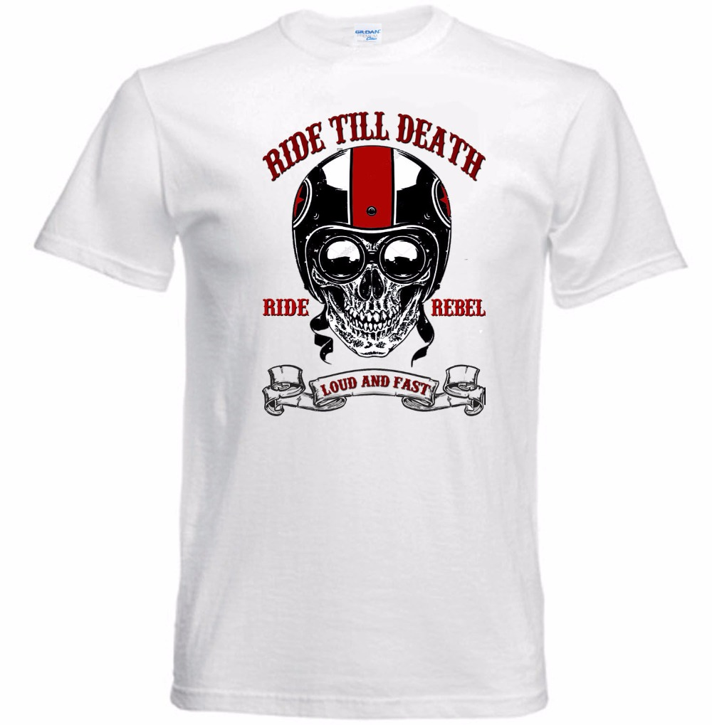 2018 summer fashion summer motorcycle fast skull riding a biker cafe racer helmet skull new cotton T-shirt brand mens Tee shirt