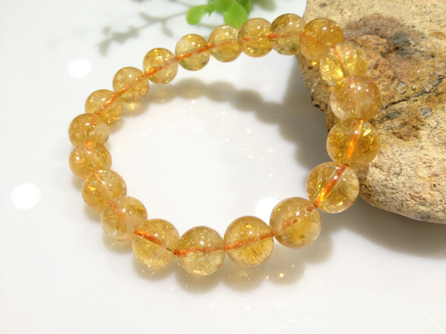 Free Shipping Natural Citrine Bracelet For Women Jewelry  10MM Stretch Bracelets