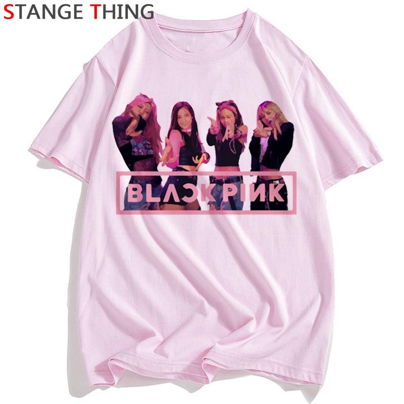 Blackpink Matar Este Amor Camiseta Mulheres LISA ROSE JISOO JENNIE T-shirt Harajuku Ullzang Tshirt Dos Desenhos Animados Moda Top Tees Fema; e