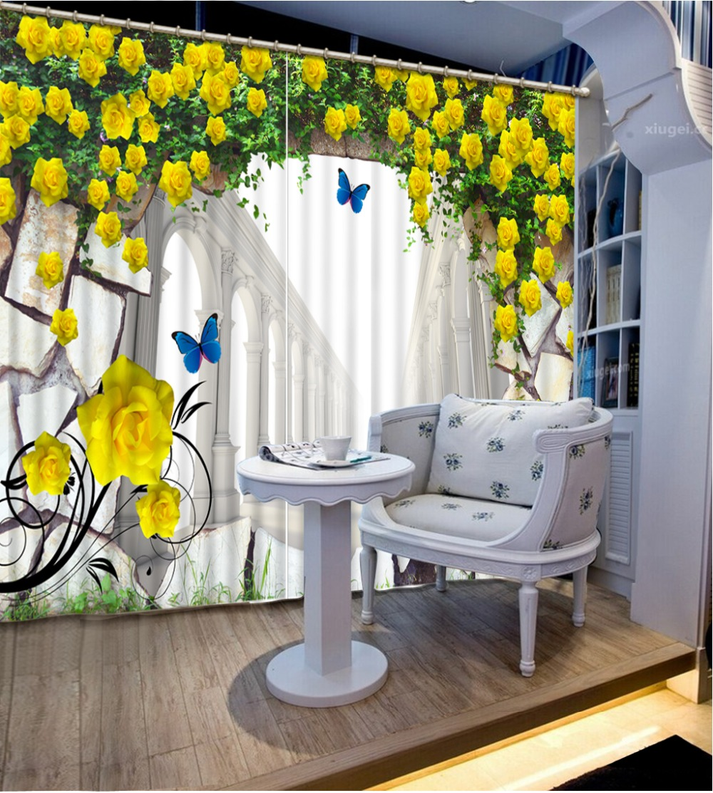 Modern Window Curtains 3d Stereoscopic Curtains European Flower Building Blackout Decoration 3d Curtains