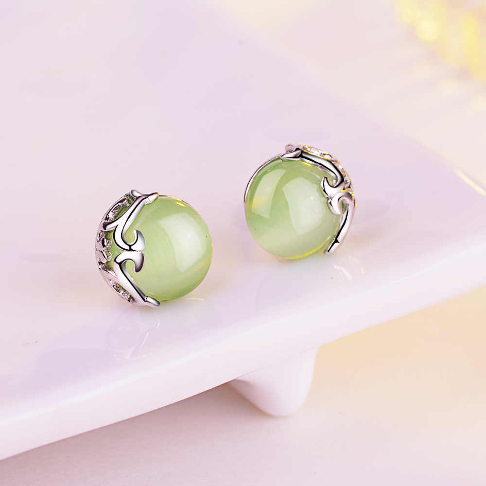 Retro Silver Earrings for Women Vintage hollow flowers green Precious Stones with 925 Sterling Silver Jewelry pendientes eh647