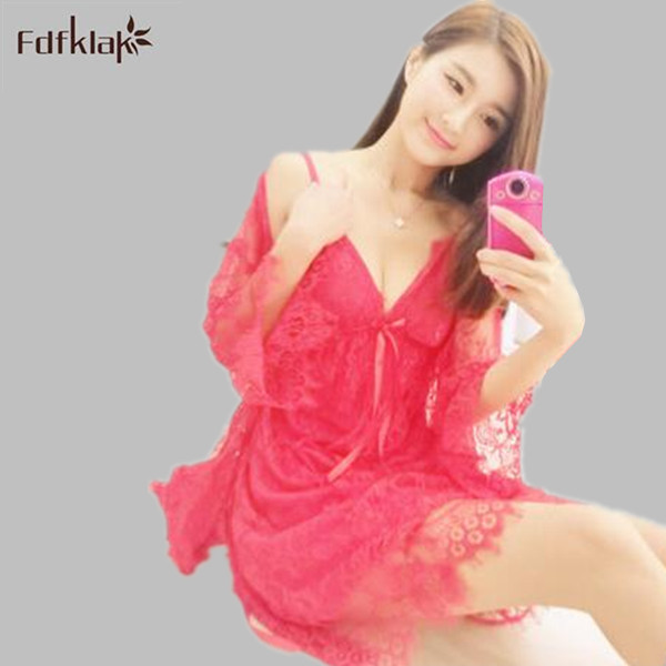 Fdfklak 2017 Hot Sale New Design Summer Two Pieces Robe+Nightgown Fashion Nightwear For Women Temptation Black/White Pink E0815