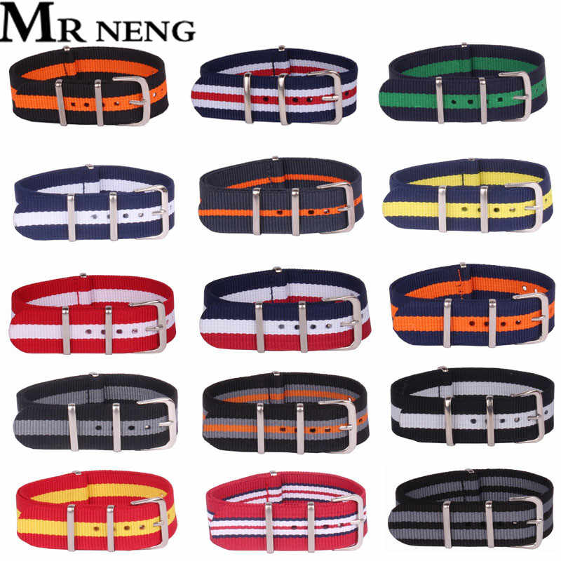 Wholesale Stripe Retro 18 20 22 24 MM Strong Military Army nato fabric Nylon Watch Woven Straps Bands Buckle 22mm watchbands