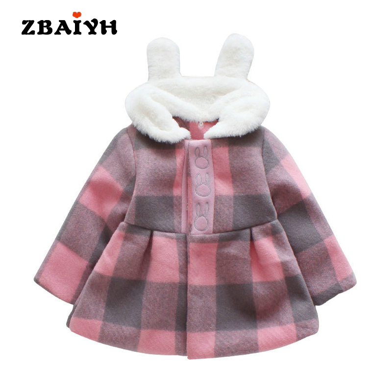 Cute Rabbit Lapel Girl Coat Winter Thick Jackets Girls Coat Lattice Baby Clothing Kids Apparel Baby Tops Children Girl's Coat girl jackets coat for winter baby girl down
