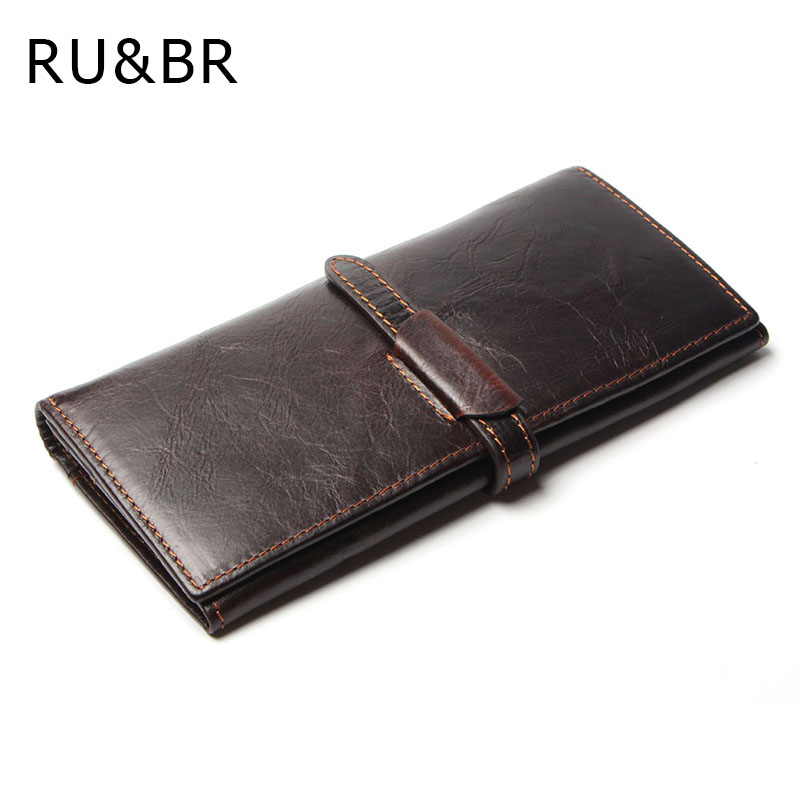 RU&BR Top Genuine Cowhide Leather High Quality Men Long Wallet Casual Coin Purse Vintage Designer Male Carteira Wallets high quality men genuine leather organizer wallet vintage cowhide clasp card holder coin purse vintage carteira masculina 1011