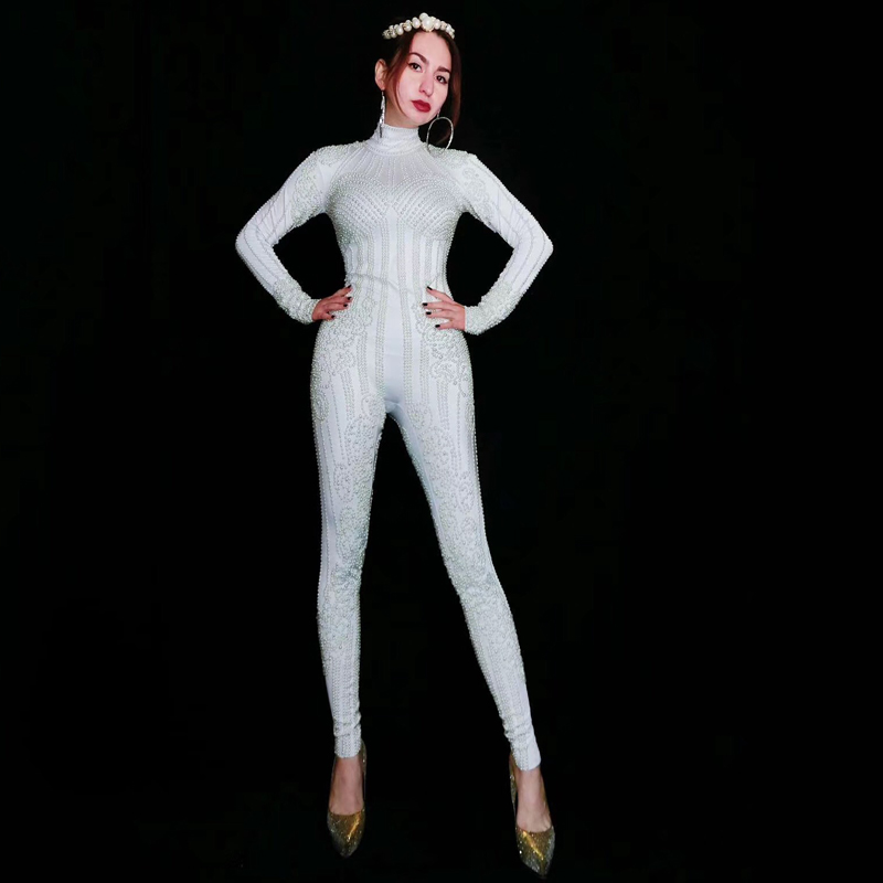 Sexy White Pearls Stretch Bodysuit Women'S Party Female Singer Costume Celebrate Outfit Gogo Stage Dance Wear Jumpsuit DT945