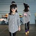 Meninas Roupas 2017 Primavera Algodão Esporte Escola Meninas Blusa para Adolescentes Camisa Listrada Camisa Criança 4-13 Anos de Miúdos roupas