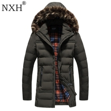 NXH 2017 New arrival Men's winter jacket Warm parkas Regular thick with fur trim hood coats hat detachable Blue Black Armygreen