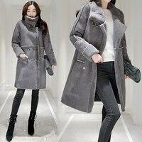 2017 Winter New Korean Women Medium Long Lambs Wool Jacket Women Turn Down Collar Warm Winter