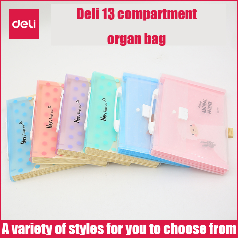 Deli Expanding Wallet Student Organ Bag Cute Pet Female File Storage Test Paper A4 Music Folder Creative Information Package