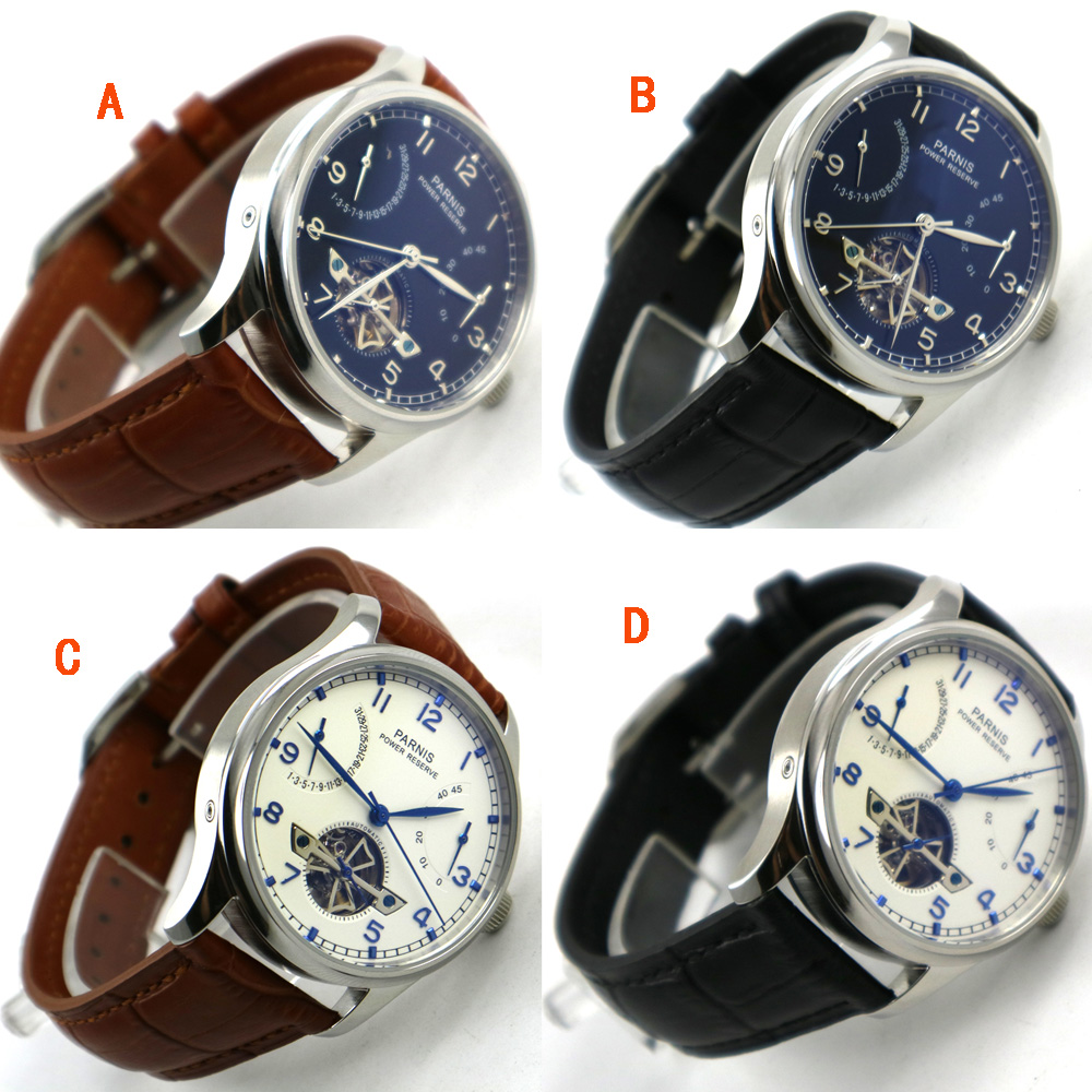 лучшая цена PARNIS watch Power Reserve 43mm White dial blue hands ST2505 Automatic Self-Winding movement Men's watch