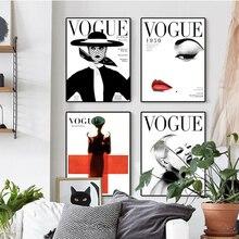 Póster nórdico, arte moderno, arte de pared, lienzo, cuadros de pared para sala de estar, decoración del hogar, VOGUE 1950, cubierta de revista, poste vintage