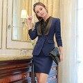 Más el Tamaño 3XL Desgaste Formal de Trabajo Profesional Trajes Tops Y Falda Otoño Invierno Blazers Trajes de Las Señoras Oficina Blazers Trajes