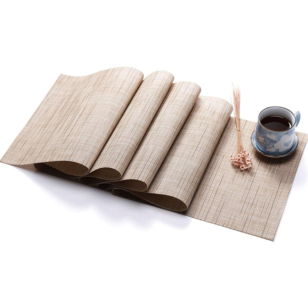 Adeeing PVC Solid Colour Table Runner Imitation Bamboo Grain Knitted Table Cover Decoration