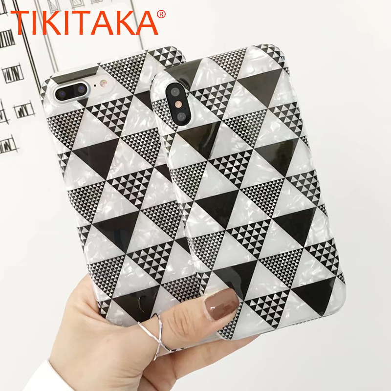 Luxury Black White Geometry Triangle shining Shell Pattern Phone Cases For iPhone 6 6S Plus Soft IMD Cover Back Case for iphoneX
