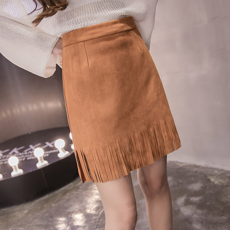 DOSOMA Camel Suede Mini Leather Skirts 2017 Summer Autumn Korean Style High Waist Package Tassel Black Women In From Womens