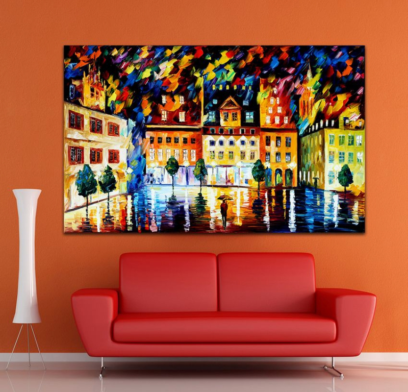 100 Hand paintd Palette font b Knife b font Painting Old City Architecture Canvas Oil Modern
