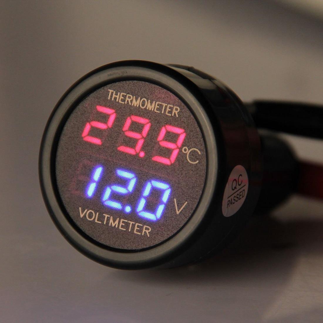 2 In 1 Red Digital LED Car Voltmeter Thermometer Auto Car USB Charger 12V/24V Temperature Meter Voltmeter 1Pc