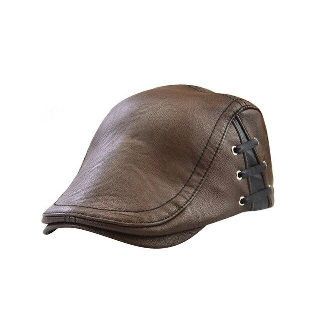 bca4dfbe88e MUSEYA Men s Flat Cap Vintage PU Leather Newsboy Cap Flat Golf Driving  Hunting Hat