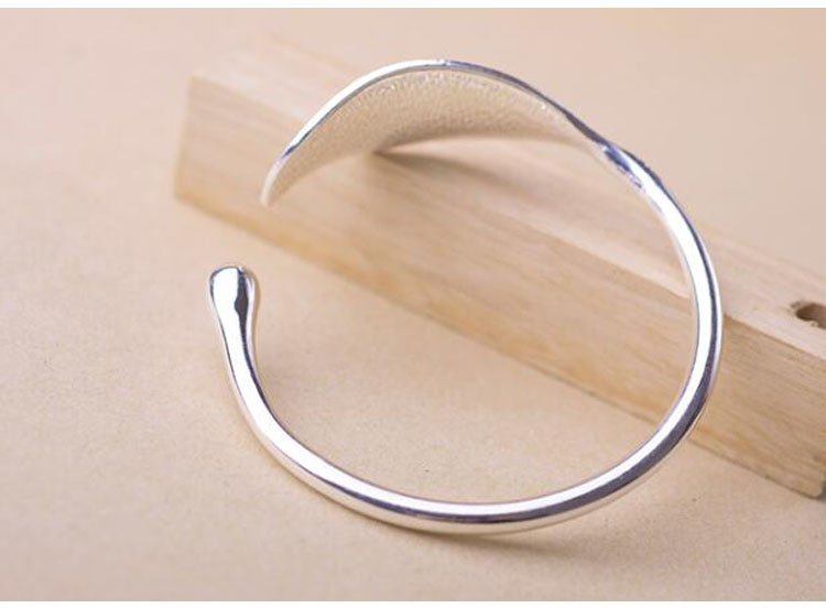 SMJEL Fashion Trendy Open Leaf Cuff Bracelet Bangles for Women Simple Plant Bracelet Femme Boho Jewelry Birthday Gift SYSZ014 5
