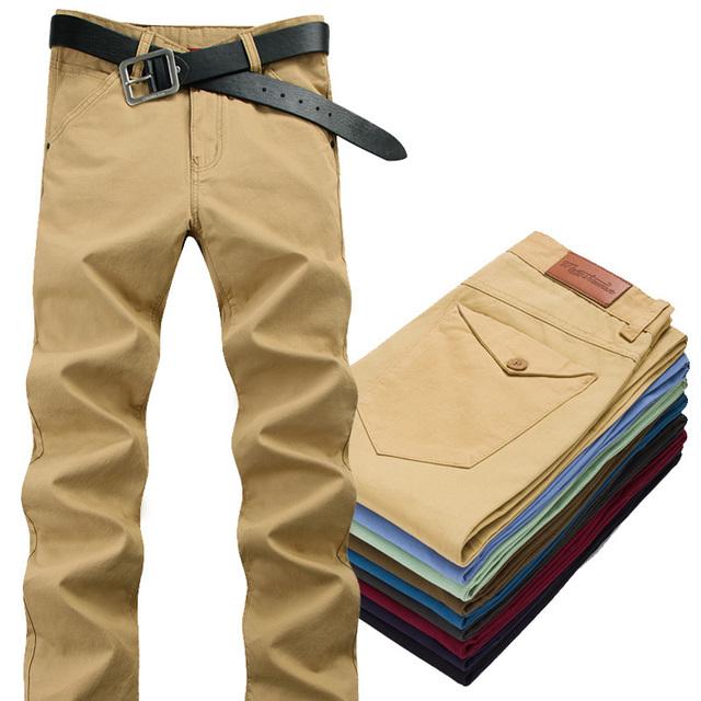 Mens trajes de moda casual de los hombres chándal 2015 nuevo mens chino pantalones de marca 28-32 slim fit hombres pantalones caqui pantalon hombre