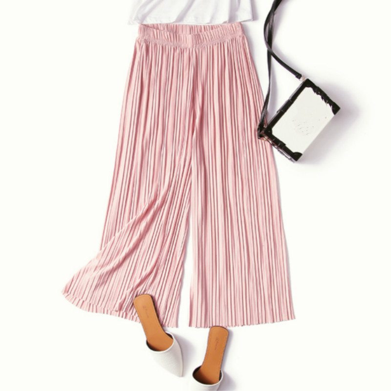 New Female Summer Thin Section Waist Chiffon   Wide     Leg     Pants   Loose Pleated Trousers Slim Calf-length   Pants   RE2368