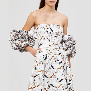 Summer Print Shirt For Women Off Shoulder Slim Ruffles Puff Sleeve Crop Tops Female 2019 Fashion Clothes New