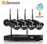 Jennov H.265 5.0MP 4CH домашняя беспроводная камера безопасности набор для видеонаблюдения Камеры Скрытого видеонаблюдения WI FI NVR Беспроводной IP Кам