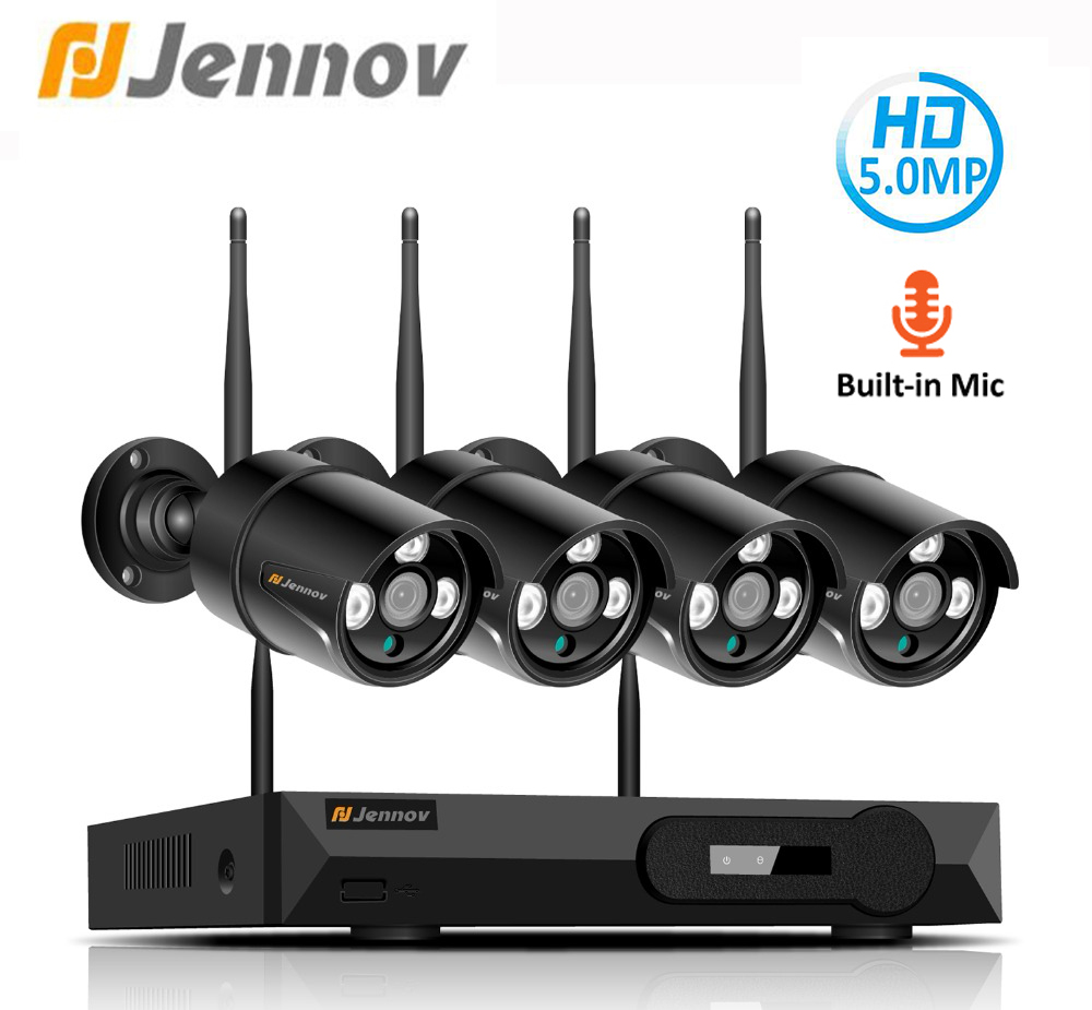 Jennov H.265 5MP 4CH Home Security Wireless Camera CCTV Set Surveillance Camera WIFI NVR Wireless 1080P IP Camera Outdoor IR-Cut