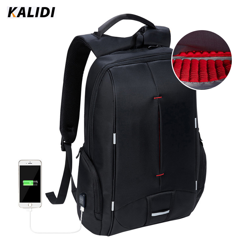 KALIDI  Waterproof Laptop Backpack USB Charger 15.6 inch School Bag Casual Backpack Men Women 15 inch Travel Bag for Teenage lowepro protactic 450 aw backpack rain professional slr for two cameras bag shoulder camera bag dslr 15 inch laptop