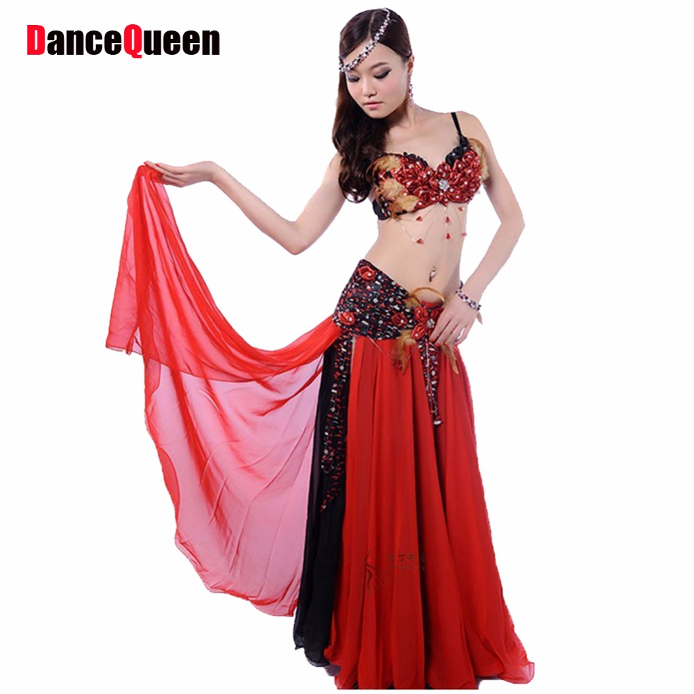 Belly Dance Costume Two Pieces Bra&Waist&Skirt Sealing Indian Dress Red/Purple Ropa Danza Del Vientre Oriental Dance Costumes