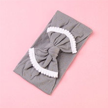 купить 1pcs Cute Kids Big Bow Hairband Headband Gold Dot Cotton Stretch Turban Knot Head Wrap Headwear Girls Tassels Headband 0-6Years онлайн