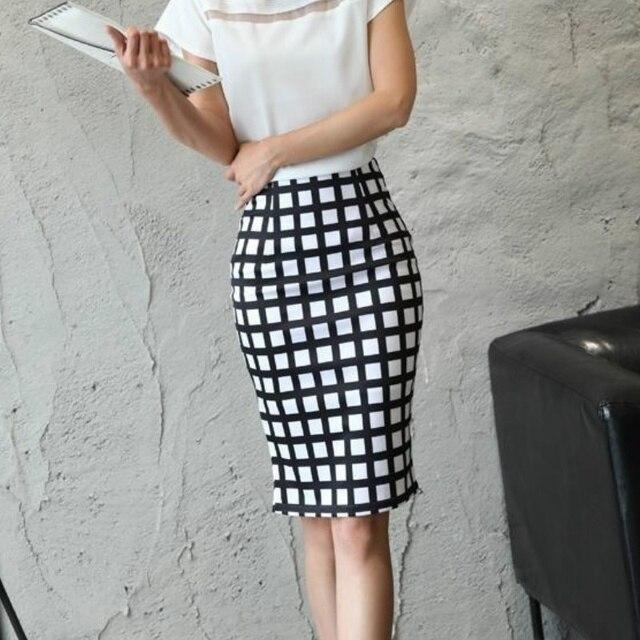 ddcfb3d6e Las nuevas mujeres de cintura alta falda a cuadros blanco y negro falda  lápiz Slim Hip
