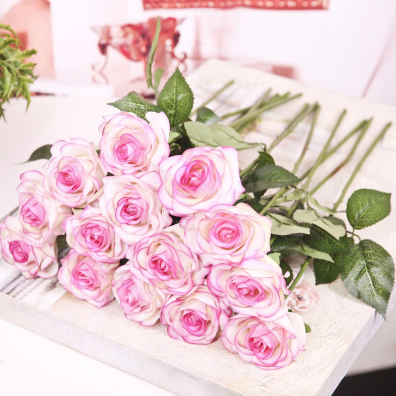 For wedding artificial silk latex rose flowers bouquet bridal getsubject aeproduct junglespirit Images