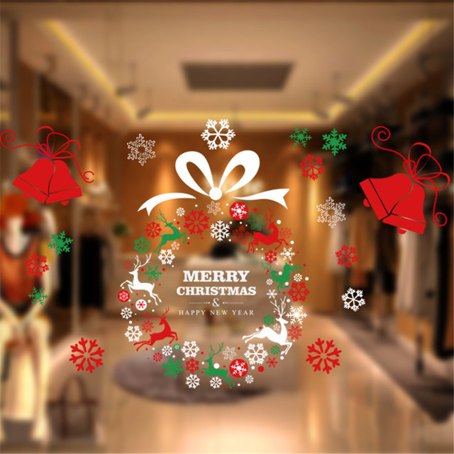 merry christmas sticker for home supermarkets cupboard glass door christmas decorations wreath bell - At Home Store Christmas Decorations
