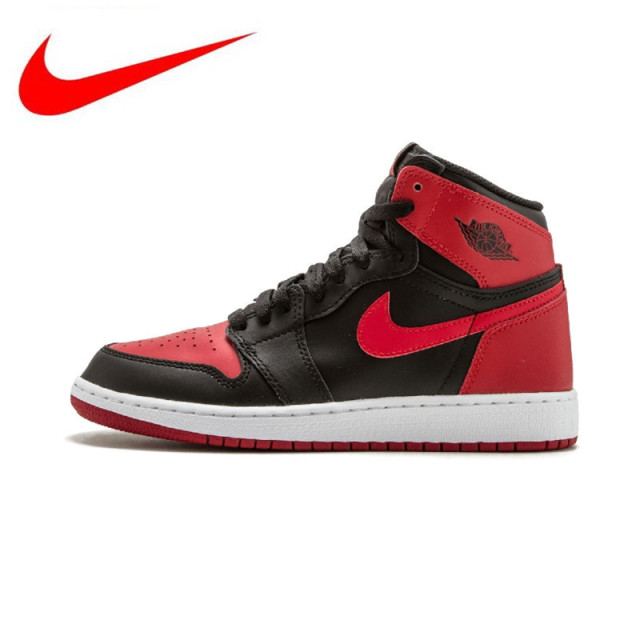 72c1bb3a2479 2018 new Nike Air Jordan 1 OG Banned Breathable high Men s Basketball Shoes  Sports Sneakers Trainers 575441-001 575441-010