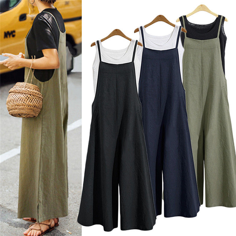 Summer Sleeveless Jumpsuits Spaghetti Strap Cargo Solid Loose Overalls Casual 2018 Jumpsuit For Women Plus Size