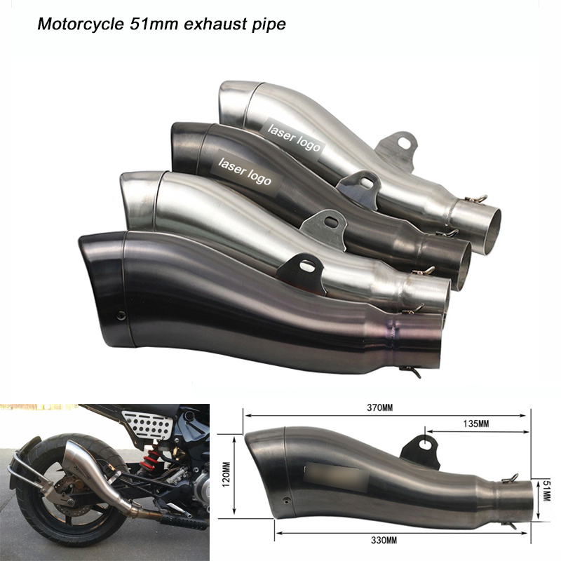 Motorcycle 51mm Headed Silencer System with DB Killer Link 370mm Stainless steel Exhaust Muffler Pipe in Exhaust Exhaust Systems from Automobiles Motorcycles