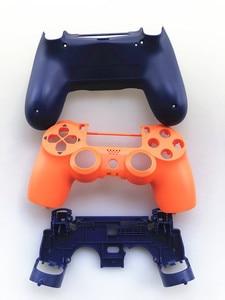 Image 4 - Custodia Set completo di Riparazione delle coperture pulsanti Caso Per Il DualShock 4 PlayStation 4 PS4 Pro jds 040 JDM 040 Copertura del Controller Arancione blu