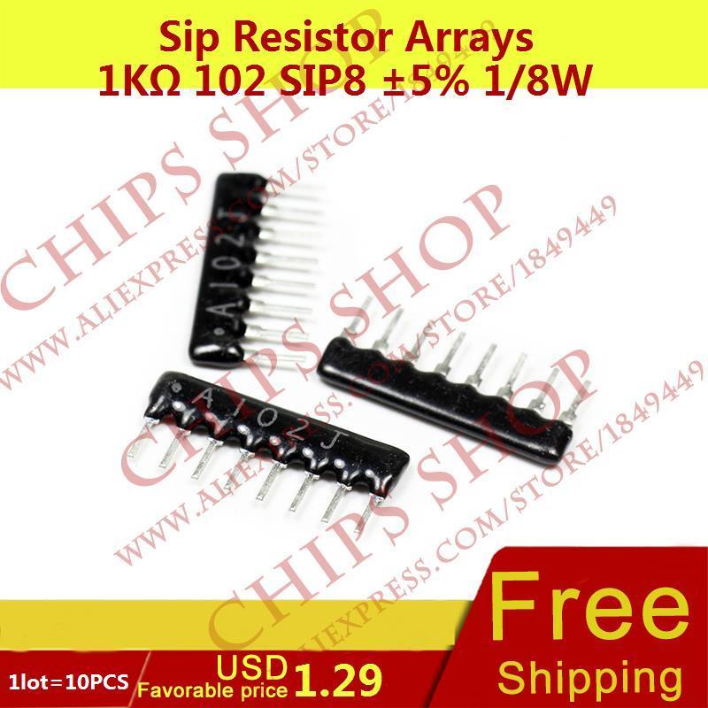 1LOT 10PCS Sip Resistor Arrays 1Kohm 102 SIP8 5 1 8W 1000ohm