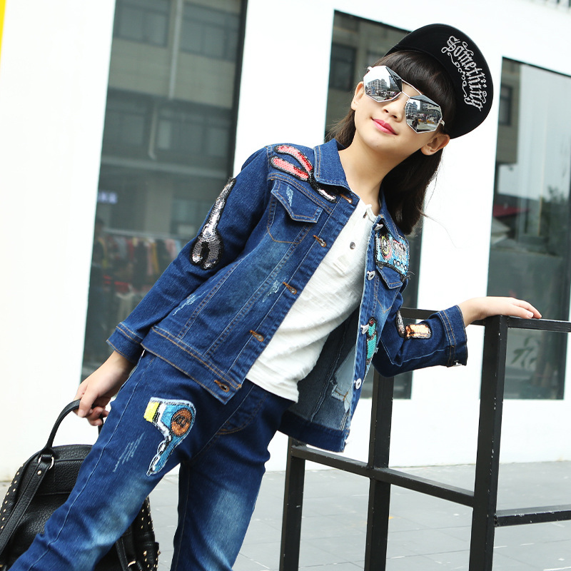 ea850687 2017 High Quality Girls Luxury Sequin Denim Jacket Pants Clothing Set Kids  Clothes Sets Jeans Coat Trousers Two Piece Set-in Clothing Sets from Mother  ...